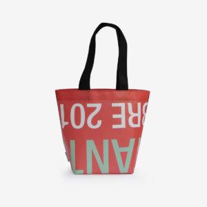 sac cabas orange en bâche publicitaire