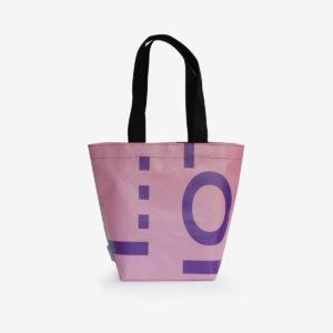 sac cabas en bâche rose d'exposition reversible éco-design