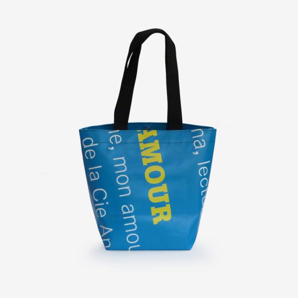 dos sac cabas en bâche d'exposition bleue