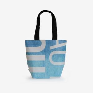 sac cabas bâche publicitaire bleu et blanc