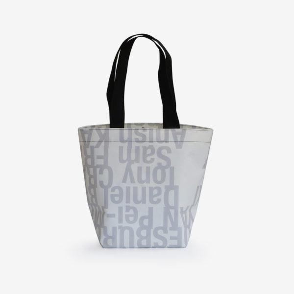 os sac cabas bâche publicitaire blanche lettre grise