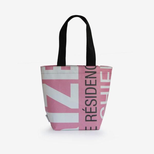 Dos sac cabas bâche publicitaire lettres roses