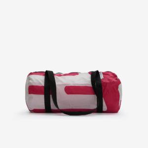 Sac bowling en toile publicitaire rose et blanche