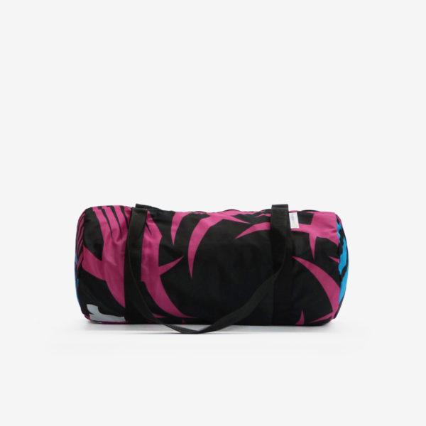 Sac bowling en toile publicitaire rose et noir.