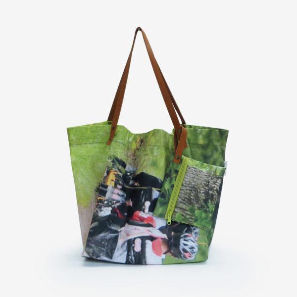cabas de plage en toile publicitaire vert