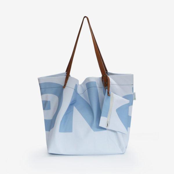 sac cabas en toile publicitaire bleue