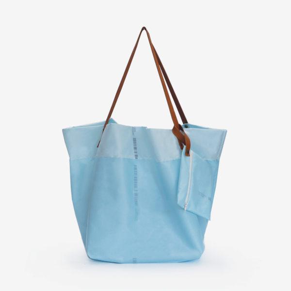 sac cabas en toile d'airbag bleu