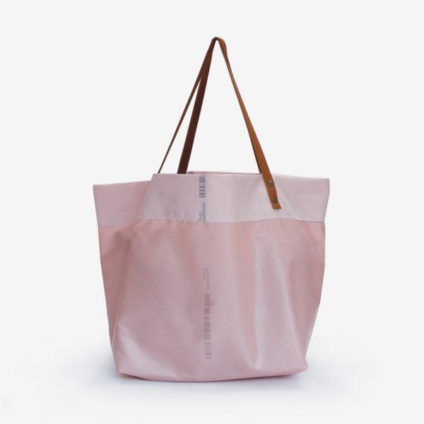dos de sac cabas en toile d'airbag rose