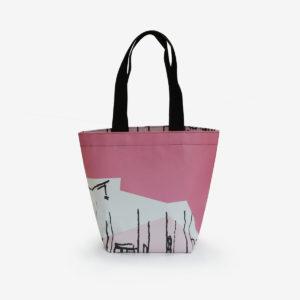 Sac cabas en bâche publicitaire graphique rose girly