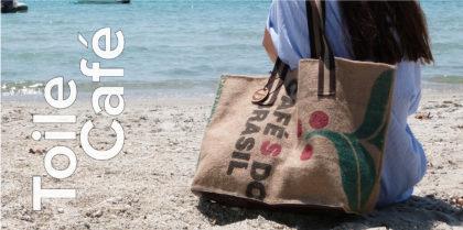 cabas de plage en toile de sac de café