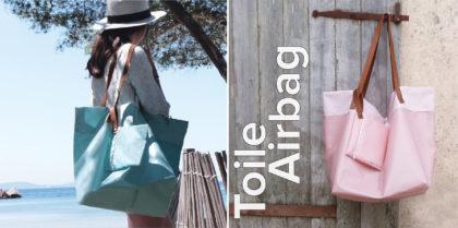 sacs cabas rose et bleu en toile d'airbag