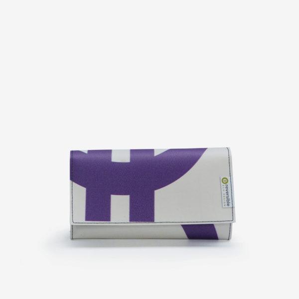 Portefeuille en bâche publicitaire blanche et violet