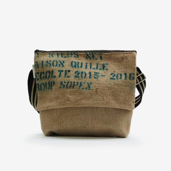 Besace en toile de sac de café.