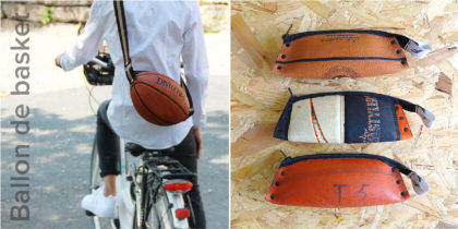 Cartable et trousses. Upcycling de ballon de basket