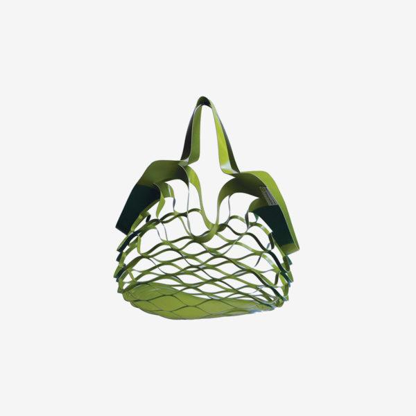 sac filet déplié vert en bâche publicitaire recyclée