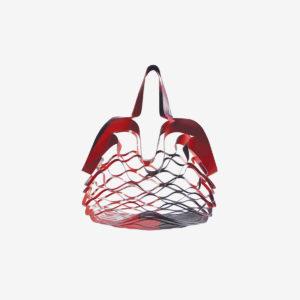 sac filet déplié rouge en bâche publicitaire recyclée