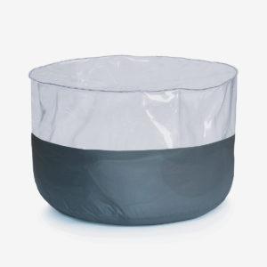 pouf rond transparent et toile parapente grise.