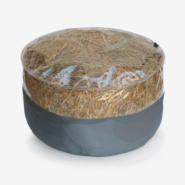 pouf rond transparent et toile parapente grise rempli de paille.