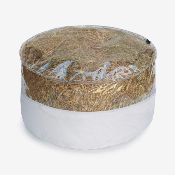 pouf rond transparent et toile parapente blanche rempli de paille.