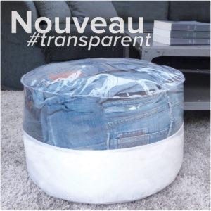 Pouf rond transparent et toile parapente blanche