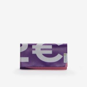portefeuille en bâche publicitaire rose et violette.