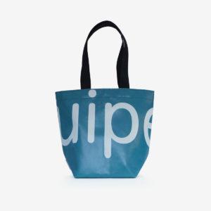sac de fille en bâche publicitaire bleu canard.