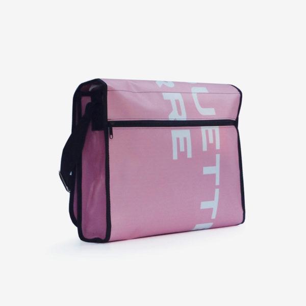 dos sacoche en bâche publicitaire rose