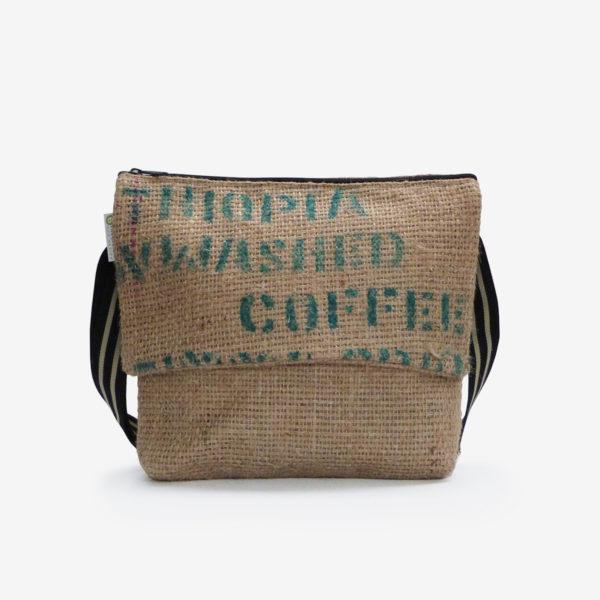 Besace en sac de toile de café d'Ethiopie.