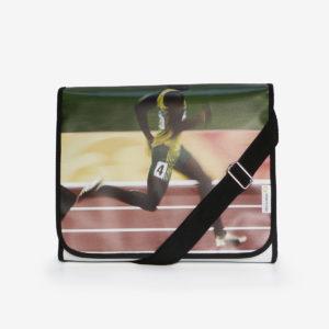 sacoche en bâche publicitaire recyclée athlétisme.