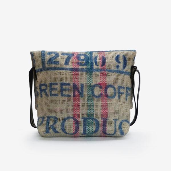 Dos de besace en sac de toile de café green.