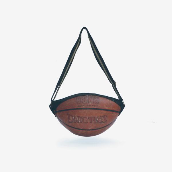 dos de sac en ballon de basket recyclé en cuir.