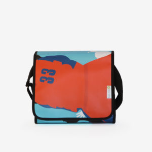 Sac besace en bâche publicitaire orange et bleue