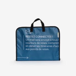 Housse ordinateur en bâche publicitaire bleue.