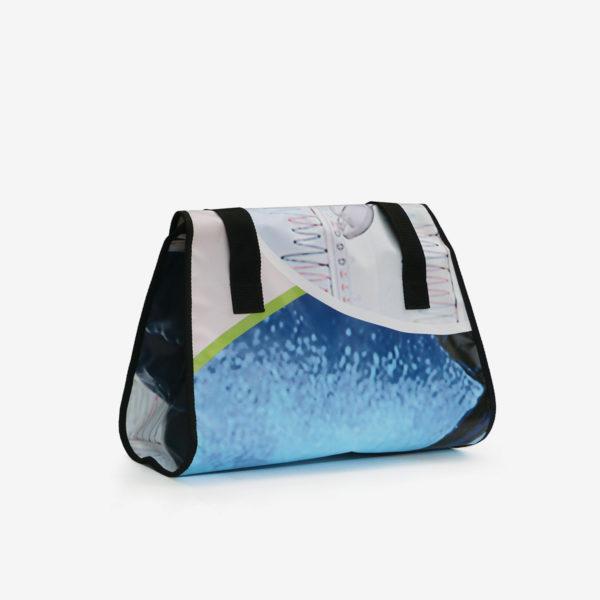 05dos Sac en bâche publicitaire recyclée bleue.