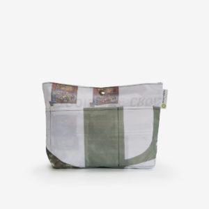 Sac à sac multipoches en toile publicitaire aux tons naturels.
