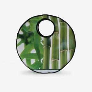 Cabas rond en bâche publicitaire imprimé bambou.