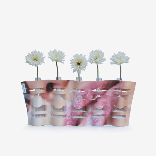 vase modulable bouche en bâche publicitaire recyclée.