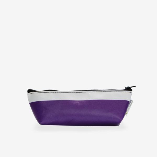 Trousse en bâche publicitaire recyclée violette.