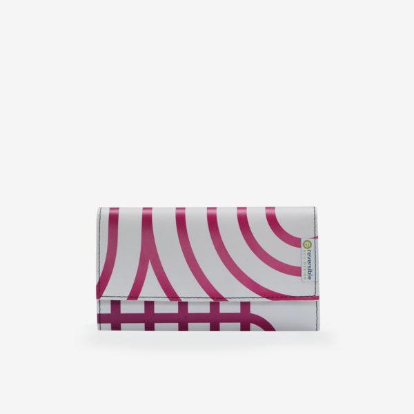 Portefeuille en bâche publicitaire rayée rose.