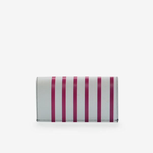 Dos de portefeuille en bâche publicitaire rayée rose.