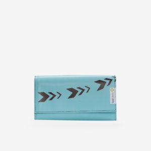 Portefeuille en bâche publicitaire bleu azur.
