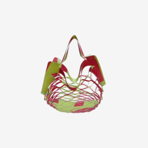 Sac filet pliable en bâche publicitaire vert et rouge