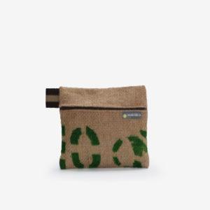 Trousse en toile de sac de transport de café. Typo verte