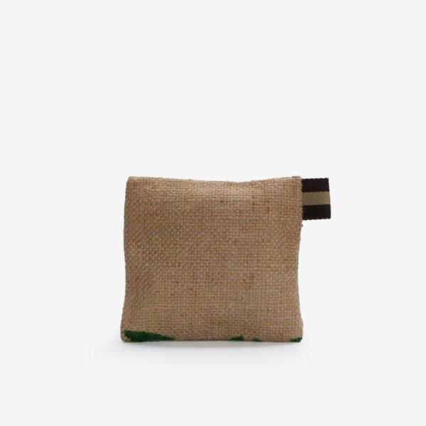 Dos de trousse en toile de sac de transport de café. Typo verte