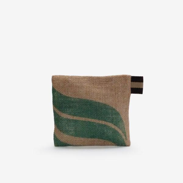 Dos de Trousse en toile de sac de transport de café volutes vertes .