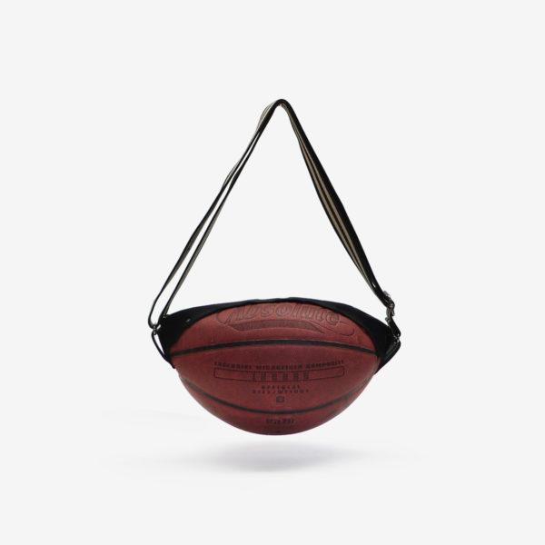 Sac en ballon de basket recyclé en cuir rouge sombre