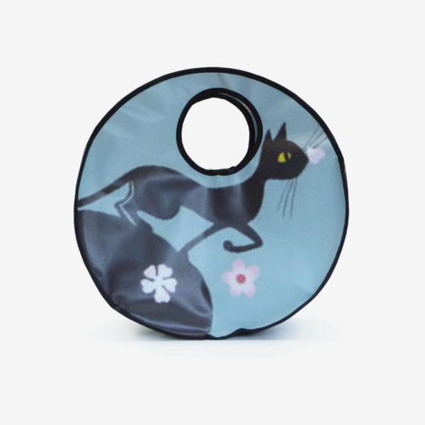 Cabas rond en bâche publicitaire bleu avec chat.