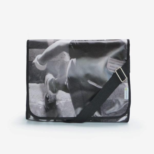 sacoche en bâche publicitaire recyclée photo de coureur.
