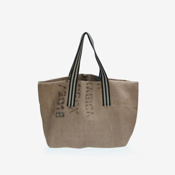 dos de Cabas en toile de sac de transport de café importé du Honduras.