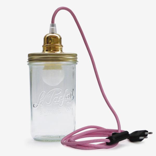 lampe bocal recycle le parfait fil rose couvercle doré